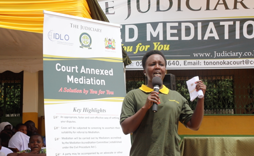 """Deputy Registrar, Mediation, Hon. Caroline Kendagor is responsible for the implementation of Court Annexed Mediation. She reports about progress on Court Annexed Mediation to the Judiciary. She told the audience: """"The registered mediators are people of good standing, with reputable backgrounds, some are lawyers, some are not, and we engage them into the mediation process where the parties are helped to enter into a conversation."""""""