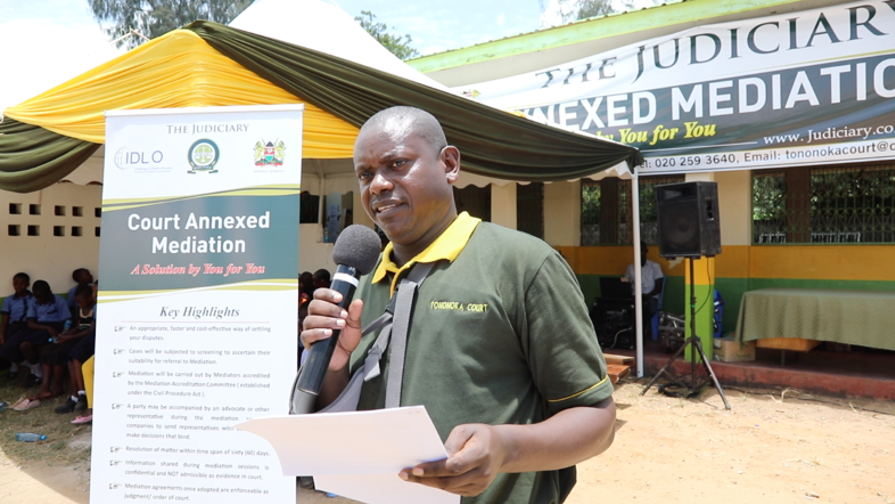 """Hon. Evans Makori, Chief Magistrate at Mombasa Law Courts, told the gathering:  """"On behalf of the big sister, Mombasa Law Court, we do salute the Tononoka Children's Court on this occasion of the launch of Court Annexed Mediation Program. I say, it's a big milestone."""
